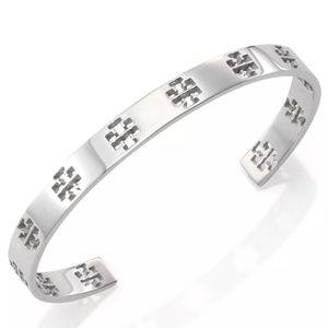 Tory Burch Silver Logo Cutout Cuff Bangle Bracelet